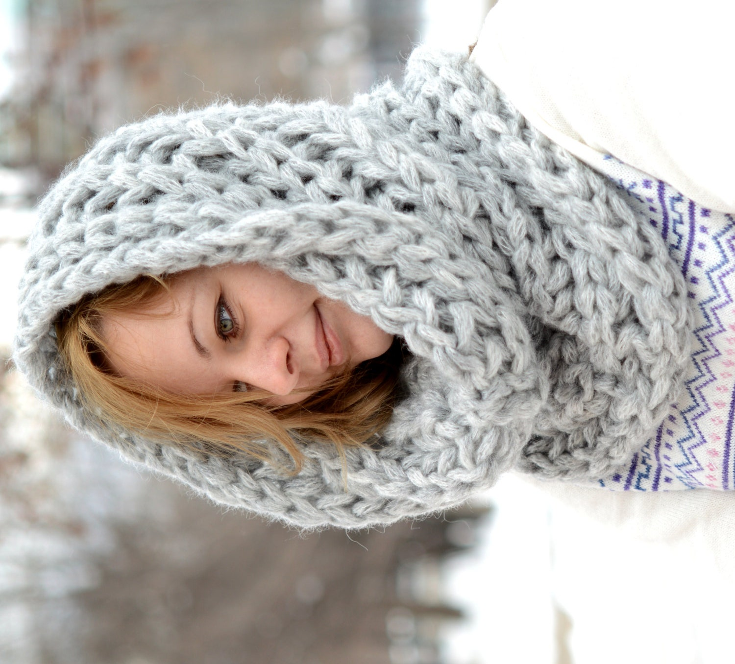 Infinity Scarf Knitting Pattern Thin Yarn : Chunky Scarf / Knitted cowl / Infinity Scarf / Neck Warmer