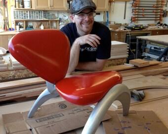 Cast Aluminium and Maple Chair