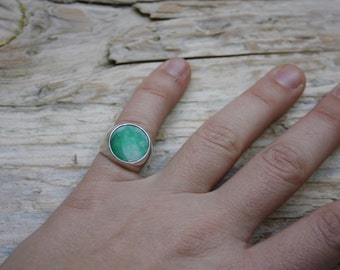 Pinky ring round jade 925 Silver Chevalier
