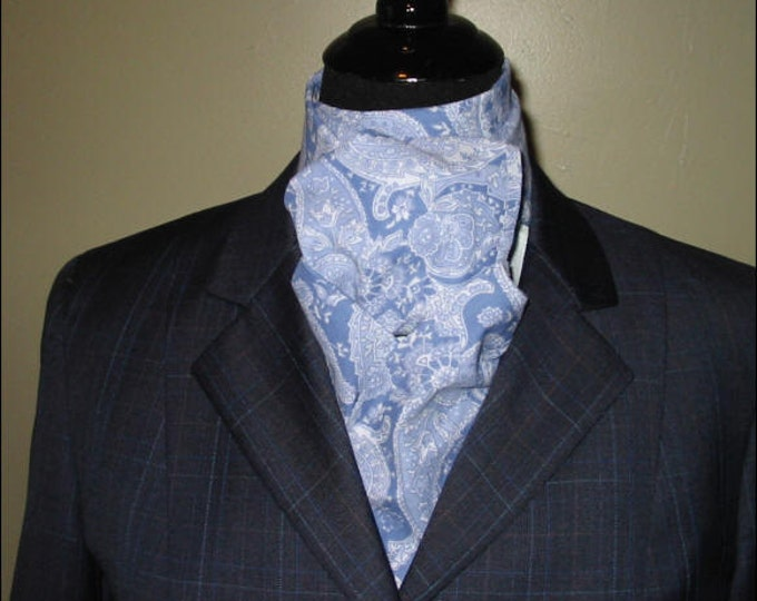 Medium Blue and White Paisley Stock Tie