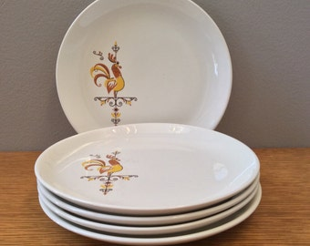 Weathervane Yellow and Brown Rooster Dessert Plates, Set of Five