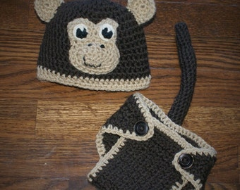 Crochet Monkey set Hat and Diaper cover Adorable