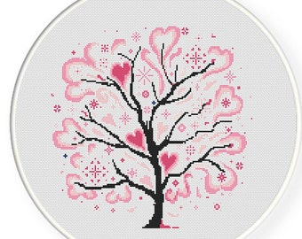 MORE for FREE - Love Tree Pink - Counted Cross stitch pattern PDF-Instant Download-Cross Stitch Pattern-Valentine-Love-Needlepoint #1411