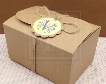 Set of 10, 20, 30, 40 & 50 - Wedding Favor Boxes With Personlized Tags, Party Gift Boxes, Holiday Gift Boxes, Cookie Boxes, Kraft Boxes