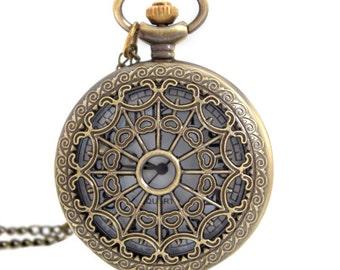 1pcs/ 45mm ,Round Cobweb pocket watch Necklace Chain,Necklace Pendant,craft supply BM-24