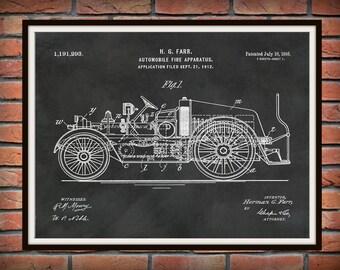 Patent 1916 Fire Truck Automobile Fire Apparatus Art Print or Poster - Wall Art -  Firemen - Fire Man - Fire House Art - Fire Fighter Art