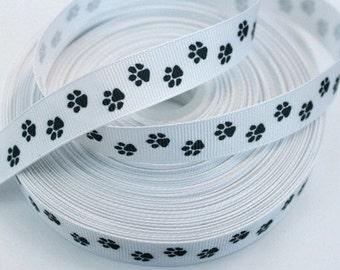5/8 inch Tiny Black Spirit Paws Sports Dog Printed Grosgrain Ribbon for Hair Bow