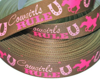 7/8 inch Cowgirls Rule on Brown Printed Grosgrain Ribbon for Hair Bow