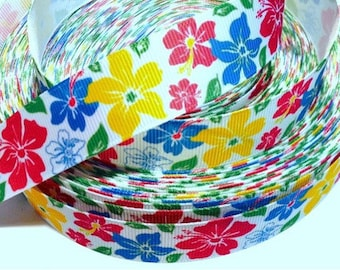 7/8 inch Colorful Flowers on White HAWAII - Printed Grosgrain Ribbon for Hair Bow
