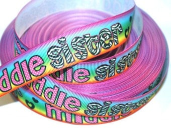 7/8 inch Middle Sister on Rainbow - Printed Grosgrain Ribbon for Hair Bow