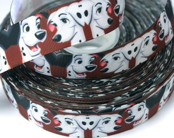 1 inch Dalmatians on Dark Red - Printed Grosgrain Ribbon for Hair Bow