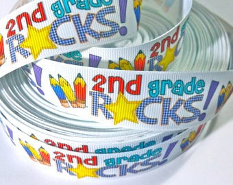 1 inch SECOND GRADE ROCKS - 2ND - Colorful Letters Back to School - Printed Grosgrain Ribbon for Hair Bow