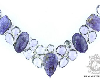 Excellent Grade Russian CHAROITE Lavender Amethyst 925 SOLID Sterling Silver Necklace