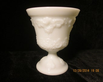E. O. Brody Co. Bacchanalia #4300 Milk Glass Footed Vase - Compote - Planter 1960's