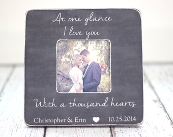 Engagement Wedding Gift Personalized Picture Frame Love Anniversary Bridal Shower Rustic Gift