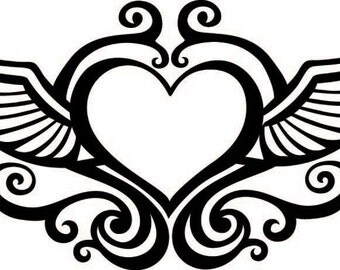 Flying Heart Vinyl Decal Sticker  ** Choose Your Color**