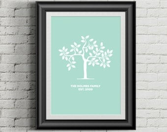Custom Home Decor- Tree- Family Name with Established Year- Wall Art