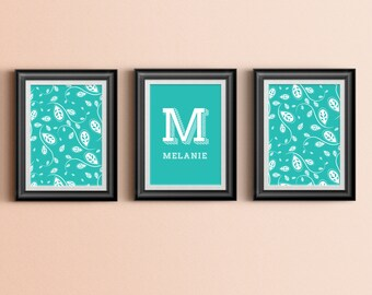 Custom Home Decor- Three Print Girls Room Abstract Paisley Vine with Custom Initial and Name