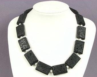 Necklace Black Lava 30mm Rectangles 925 NSLV3132
