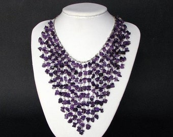 Necklace Amethyst Chip Beads Chain Linked Dangle NSAT1713