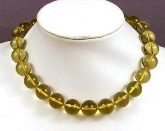 Necklace Lemon Quartz 16mm Round Beads 925 NSQL5077