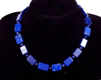 Necklace Lapis Lazuli 18mm Free Rectangles 925 A NSLL2399