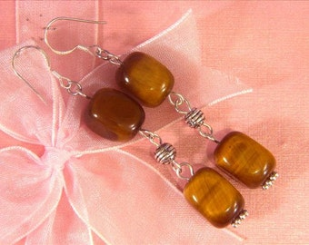 Earrings Gold Tiger Eye 2X 14mm nuggets 925 ESTE1927