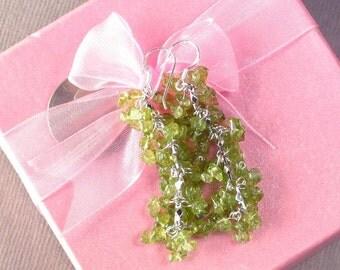 Earrings Peridot Chip Beads Chained Dangle 925 ESPE0374