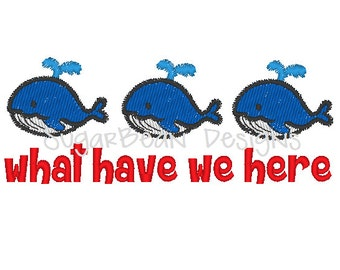 Whales Embroidery Design. Two Sizes Included. Whale What Have We Here Machine Embroidery Design.