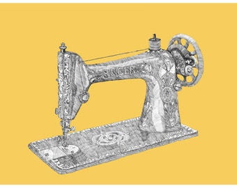 The Makery Art Print, Illustrated Singer Sewing Machine