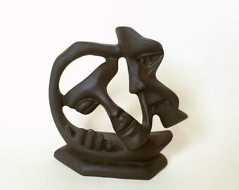 Couple Kissing faces  Modern Sculpture Figure handmade