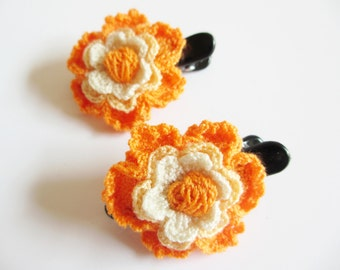 Set of Two Orange Flowers Crochet Hair Clips, Hair accessory, Hair decoration, Ponytail decoration, Flower Crochet, Flower Accessory