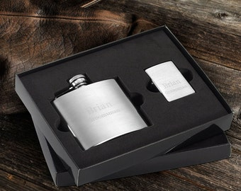 Custom Zippo Lighter and Flask - Personalized Gift Set