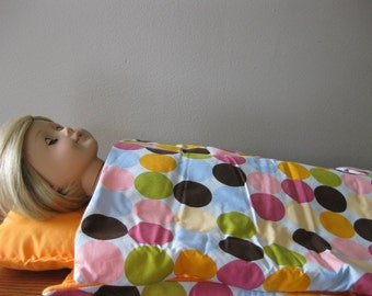 "Sleeping bag and pillow for 18"" doll"