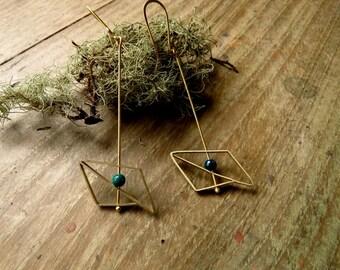 Earrings brass geometrical chrysocolle