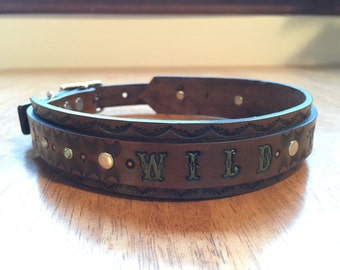 WILD N FREE Double layer leather dog collar