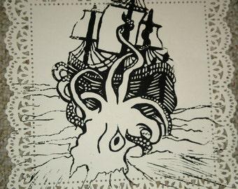 Kraken and Ship Linocut