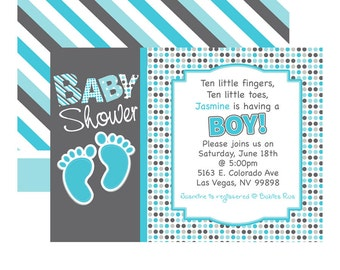Baby Shower Baby Feet Invitations - It's a Boy Baby Invitation - Foot Prints Invites Printed