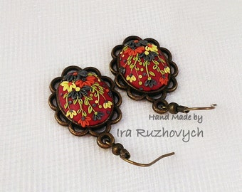 Polymer Clay Filigree Earrings