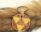 Leather Triforce Keychain Zelda Link Video Games Fanart handmade geek charm gift key ring natural brown tan yellow