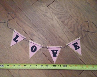 pink and gold LOVE banner glitter