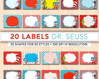 Digital labels,20 x digital Dr Seuss tags,printable labels,digital frames,digital tags,frames clipart, instant download DSL01