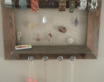 Pallet jewelry holder / rustic jewelry organizer in a coffee stain