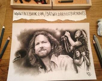 PRINT of the hand drawn artwork ' Eddie Vedder - Pearl Jam ' Size A4