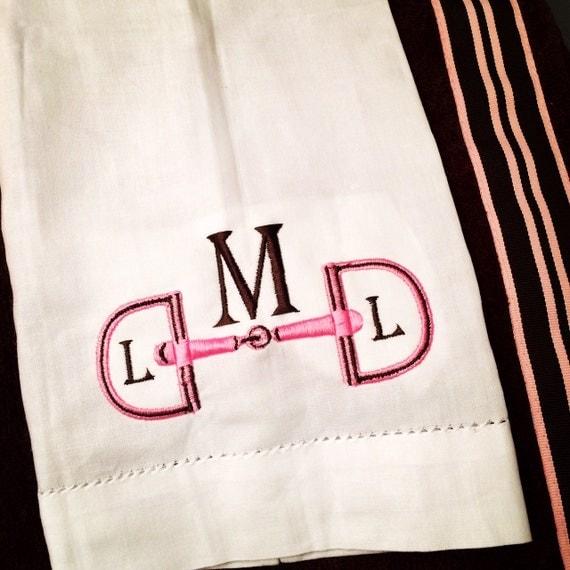 White Linen Hemstitch Horse Bit Monogram Guest Towel Kentucky Derby