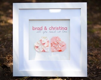 Personalised Origami Heart Frame perfect for Wedding, Anniversary or Engagement Gift