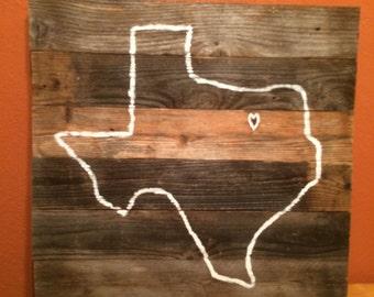 Texas reclaimed wood wall art