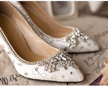 Elegant white/red lace and crystal wedding shoes, prom shoes, Crystal shoes, Lace shoes, handmade bridal shoes, Unique wedding shoes,