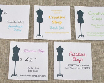 EDITABLE Printable Dress Form Black - Address Labels, Business Cards, Hang or Price Tags, Gift Tags, - YOU change the text again and again