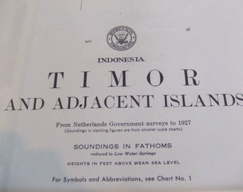 Timor and Adjacent Islands ~ Indonesia - Detailed Topography - Includes Solor, Alor Islands, Flores and Timor Sea - Nautical Chart #7859
